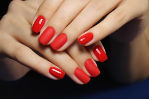 manicure with long nails on a trendy texture background